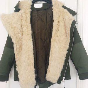 Brand new Zara green fur jacket